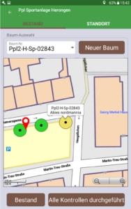 Baumkontrolle App in der Kartenansicht